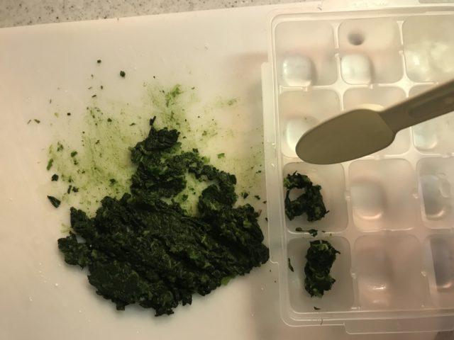 ほうれん草を粉ミルクの付属スプーンで小分けフリージングパックに入れる